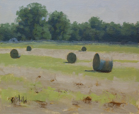This painting of hay bales in a field has a strong feeling of light, bright pale greens and a distant treeline.