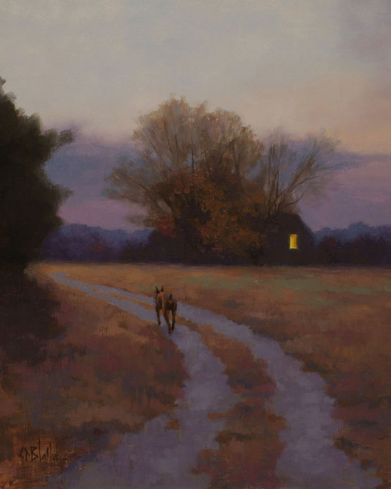 A landscape painting of a Doberman dog walking toward a solitary house at dusk.