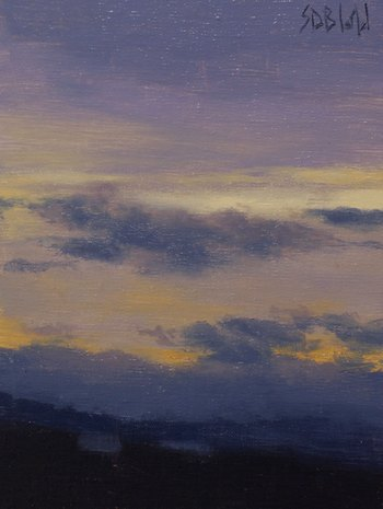 A painting of clouds in the evening sky