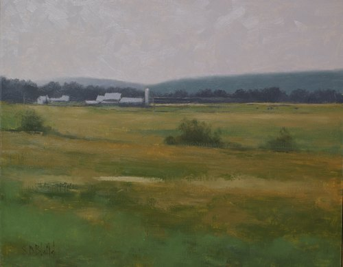 A painting of a distant farm with fields in the foreground.