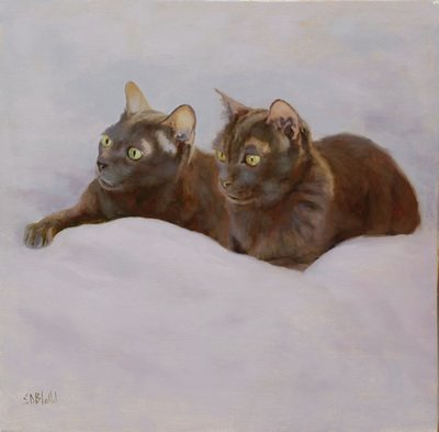 A portrait of two cats lying on a white sheet