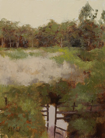 Preliminary study for a landscape painting