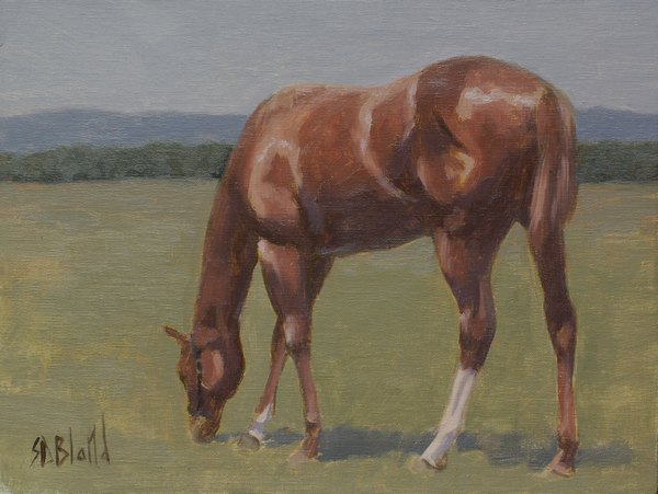 Oil sketch of a filly grazing in a pasture.