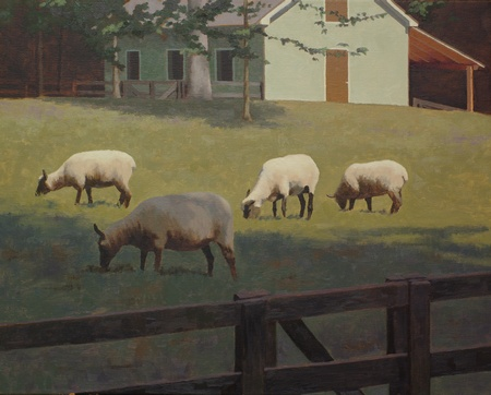 A landscape painting with Clune Forest sheep in a field with trees and a small barn in the background.