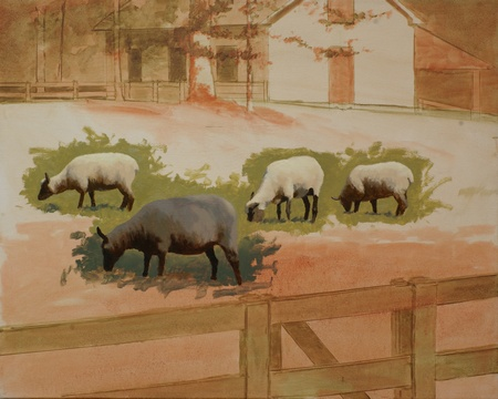 A painting of sheep in progress. The figures of the sheep have been painted in while the background and setting remains unfinished.
