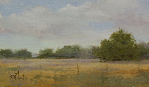 A painting of wheat fields with strong value composition and atmospherics