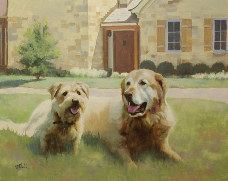 A completed portrait of two dogs lying on the lawn on front of a house.