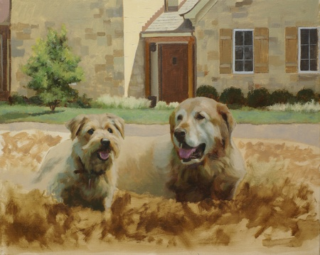 An in-progress look at the portrait of two dogs. At this stage the dogs have been partially painted and the background is being added.