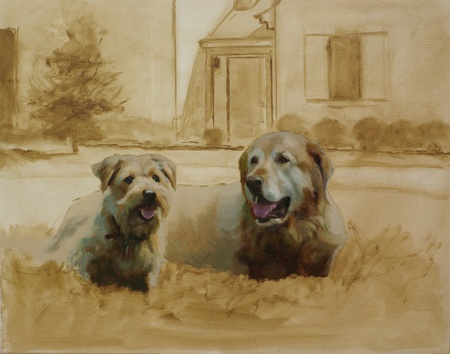 A progress look at a portrait of two dogs. At this stage the main features of the heads have been painted in.