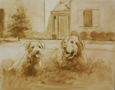The block in stage of a portrait of two dogs lying in grass in front of a house