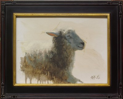 A framed oil painting of a sheep. This painting has an unpainted background. The sheep's fleece is rendered in a semi-abstract way.