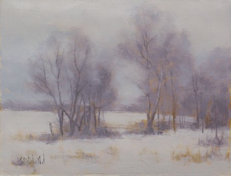 A painting of a snowy landscape with bare trees.