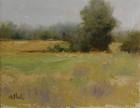 A plein air painting of a rural landscape with a series of tree clusters. There is a strong pattern of colors and loose brushwork in the foreground grasses.