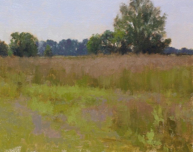 A landscape painting of meadows with different grass textures, variation of foreground colors, a prominent tree and distant violet treeline.