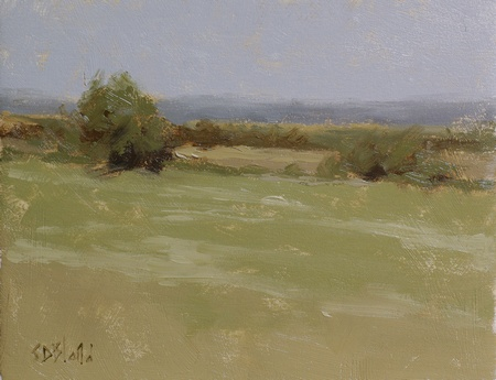 A small studio landscape with minimally painted trees, hedgerows and fields done with a limited palette.