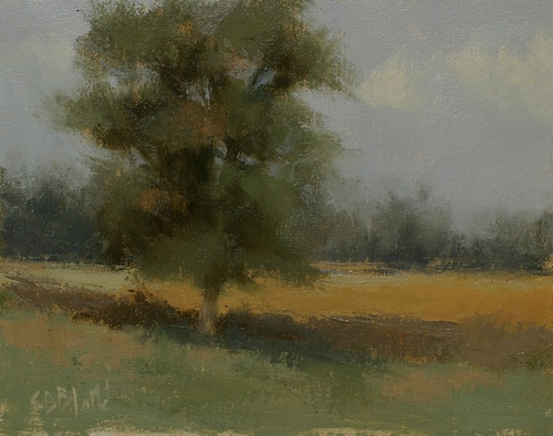 A plein air painting of a tree in a field