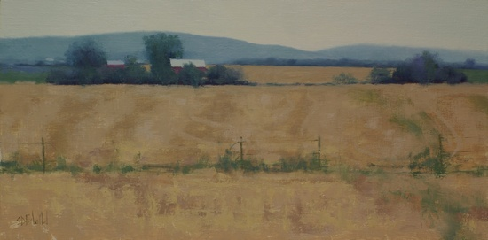 A painting of fields and a barn in Jefferson MD - WIP