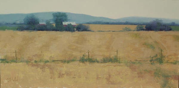 A painting of harvested wheat field, a red barn and the Blue Ridge mountains in Jefferson MD