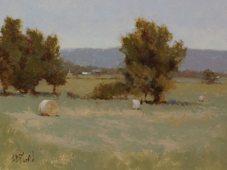 This landscape was created using a limited palette. It features hay bales, a middle-ground treeline and the Blue Ridge mountains in the far distance.
