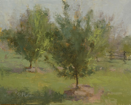 A painting of trees in an orchard