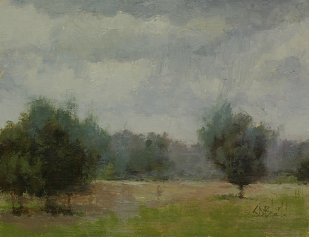 A painting of cloudy skies over a field in Waterford VA