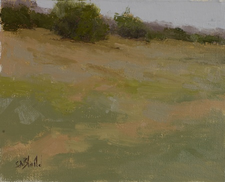 A small landscape painting featuring shrubs sitting on a bank.