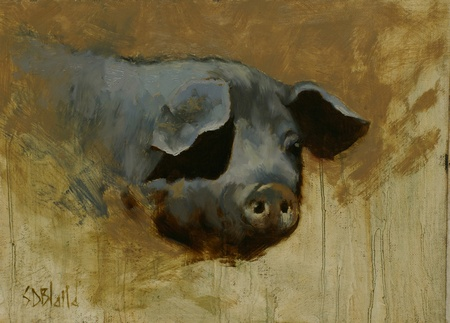A painting of a pig's head.