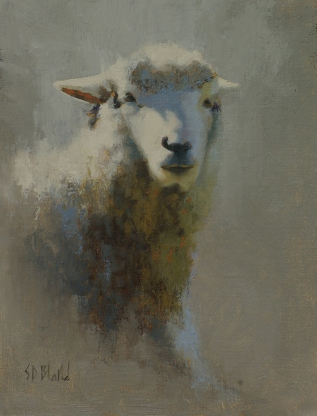 A painting of a sheep with a gray, gradated backgroud