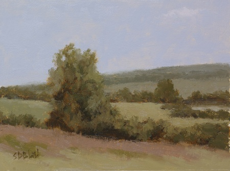 This plein air painting was re-worked in the studio. The landscape was painted with analogous colors set against a pale blue sky.