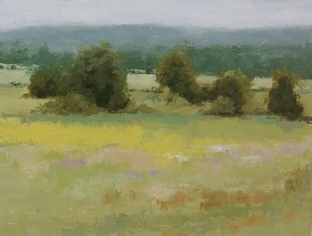 A plein air painting of meadows and trees with masses of wildflowers in the foreground.