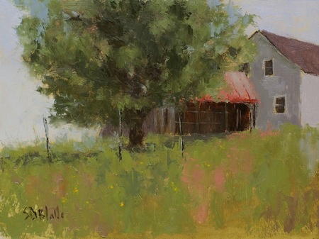 A plein air painting featuring a barn and a tree. The viewpoint is slightly uphill.