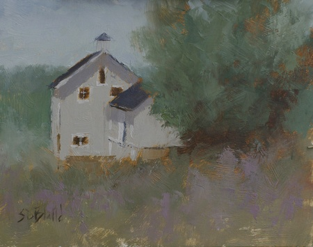 A plein air painting of a gray barn surrounded by trees. The foreground has lilac-colored accents.