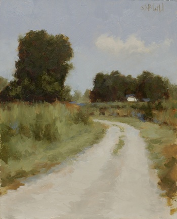 Painting of an unpaved Virginia road with dark trees and a white farm building in the distance.