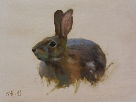 This painting of a rabbit was done on a toned canvas. The background was left unpainted. Grass is represented by a few abstract strokes of raw umber.
