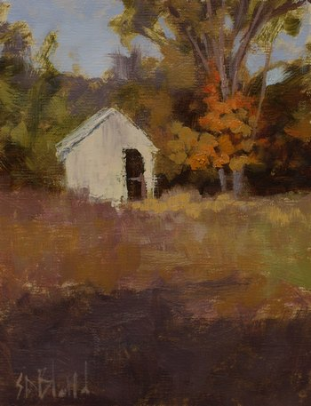An oil sketch of a small white barn in a fall landscape.