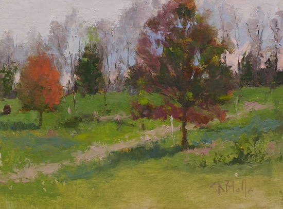 A plein air painting done with the Ned Jacob palette