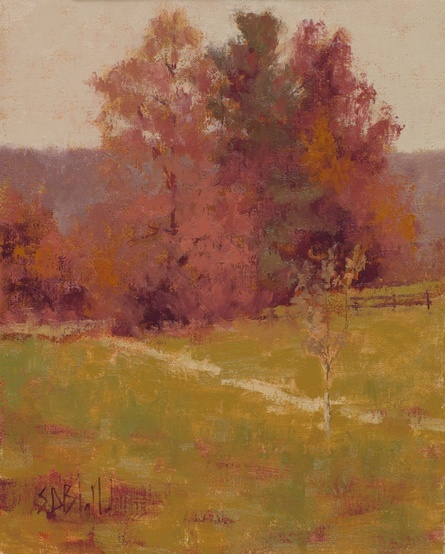 A painting of fall foliage on the trees at Weatherlea Farm