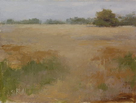 This landscape painting of wheat fields features atmospheric effects and an abstracted foreground.