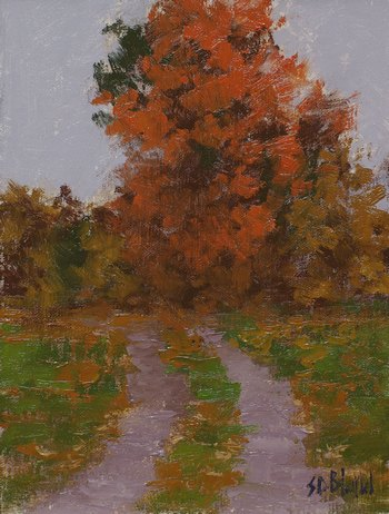This small oil painting features a farm track leading to a large tree displaying its fall foliage
