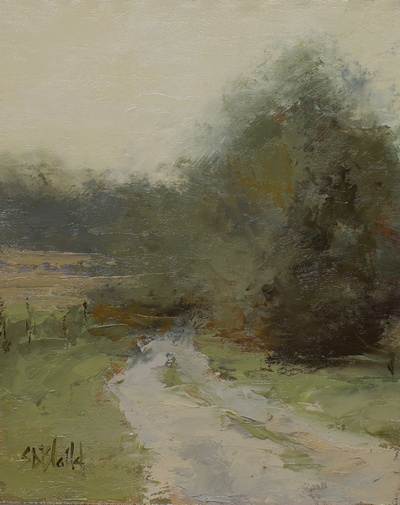 This small landscape of trees alongside an unpaved road features heavy painting knife work.