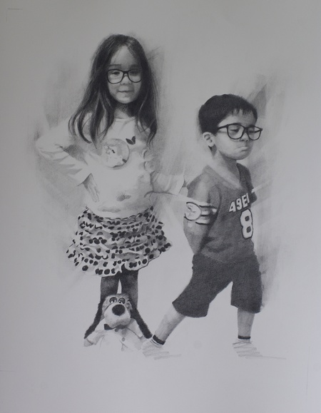 Drawing in graphite of two children
