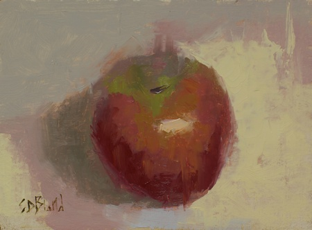 A still life painting of an apple