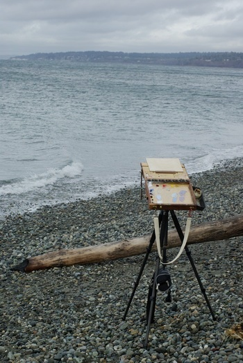 Plein air painting on the beach at Ballard