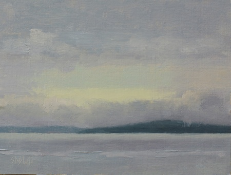 A plein air painting of Bainbridge Island