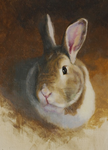 Completed painting of a bunny