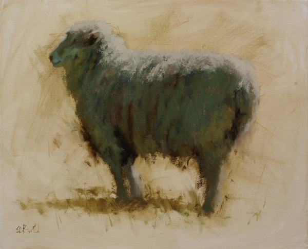 A painting of a ram with abstract effects