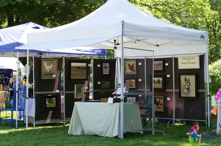 Display tent set up at an art fair