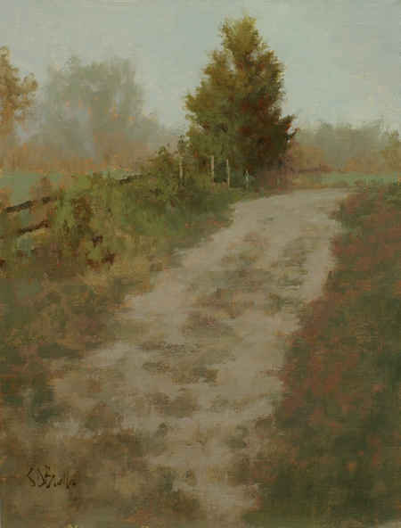 A painting of a farm track with trees and hedgerows