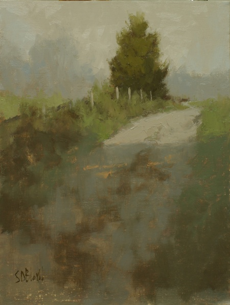 A painting of a farm track with grayed out palette