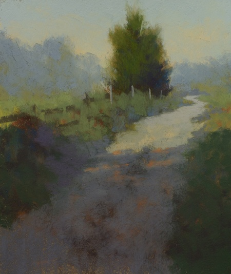A colorful impressionistic pastel study of a farm track